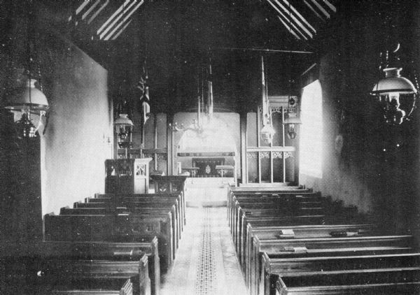 Inside St Mary's (note oil lamps)